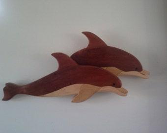 Australian Wooden Intarsia Dolphins