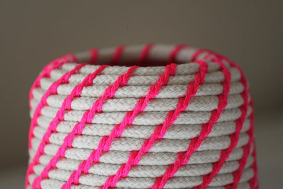 Upcycled neon coil basket
