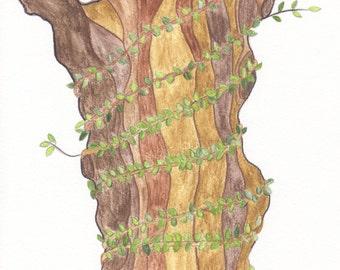 watercolor print of tree