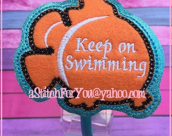 CLoWN FiSH Keep Swimming HB Slider Hair Pretty Accessory ~ In The Hoop Headband ~ Downloadable DiGiTaL Machine Embroidery Design by Carrie