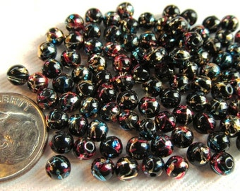 100-Count 4mm Acrylic Party Beads in Black with Multicolor Metallic Accents