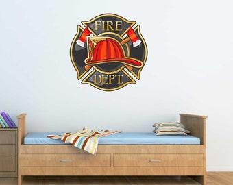 Fire Department Logo Wall Graphic- Reusable Wall Sticker, 21x21, Child Decor, Art