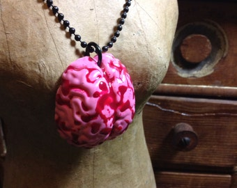 SALE - Handmade Resin Cameo Necklace - Zombie Brains Blood  Punk Goth Horror