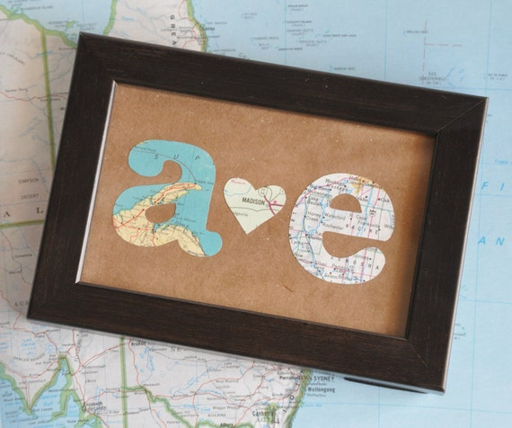 Long Distance Relationship Map Gift Initials Framed