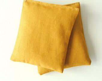 Lavender Sachets Goldenrod Yellow Modern Linen - Organic Lavender - Set of 2 Drawer Sachets Mother's Day Gift