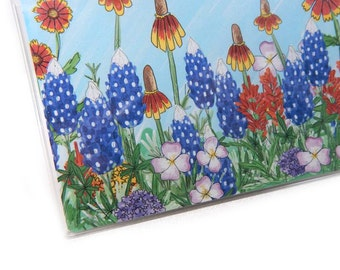 Checkbook Cover - Texas Wildflowers - bluebonnet floral checkbook holder - Hill Country - spring