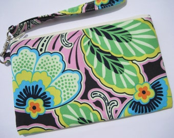 Wedding Clutch 2 pockets, green,medium,flowers,cotton, wristlet -  Floral couture in pitch