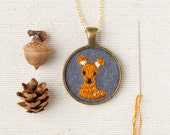 Embroidered Deer Wool Felt Necklace - Animal Portrait - Circle Pendant - Woodland Jewelry - Fawn - Doe