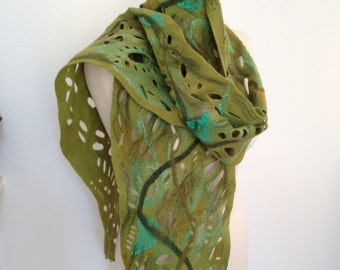 Lacy scarf  green merino wool and silk scarf