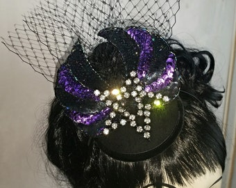 Rhinestone Winged Pentagram Fascinator Headpiece