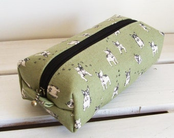 Long box pouch - French bulldog (green)
