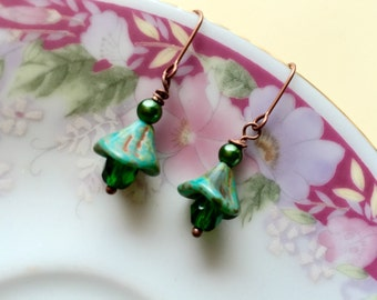 Green Flower Earrings, Dangle Earrings Made with Czech Glass Flowers in Picaso Green with Faceted Beads and Copper, KreatedByKelly
