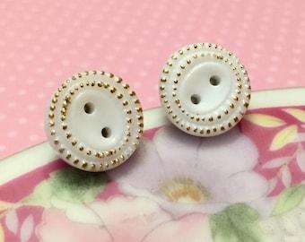 White Glass Studs, Vintage Czech Glass Stud Earrings, White Gold Detailed Edges, White Button Stud, White Glass Button Stud (SE3)