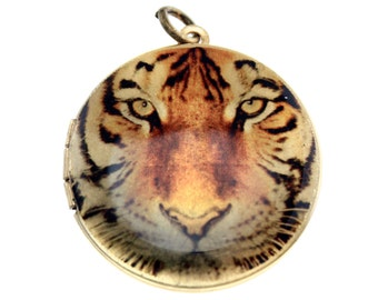 Photo Locket, Image Locket, Art Locket, Picture Locket, Brass Locket - BIG CATS - Tiger