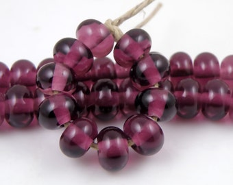 042 Medium Amethyst Spacers - Handmade Artisan Lampwork Glass Beads - 5mmx9mm - SRA (Set of 10 Spacer Beads)