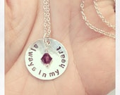 always in my heart - Custom Hand Stamped Sterling Silver Remembrance Necklace with vintage pearl or swarovski crystal - 7/8 inch disc