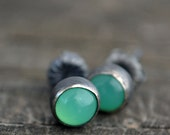 chrysoprase and sterling silver small stud earrings