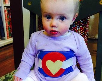 Girls Lavender Colorado Flag Lap Tee - Baby Girl- Baby Girl Gift- Colorado Love Shirt