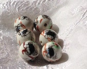 Vintage Chinese Hand Painted Porcelain Enamel Crab Beads