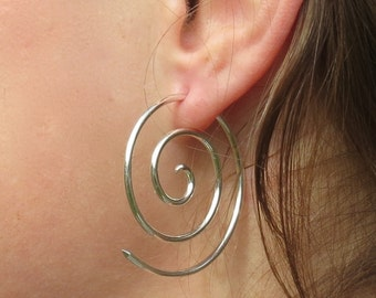 Sterling silver, 14 gauge, Spiral, earrings, #10