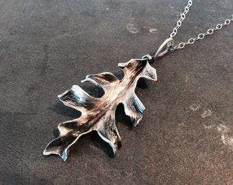 Handmade Sterling silver Oak Leaf Necklace - Made to order