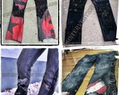 Custom 'Made to order' Shredded Studded Denim Leather Pants Rock wear / Stage gear