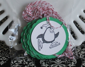 Christmas Penguin on skates tags - Christmas green - set of 10 - perfect for gift tags, holiday parties, classroom treats, etc.!