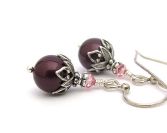 Berry Pearl Crystal Earrings, Swarovski Crystals Antiqued Silver Plated Dangle Drop, Clip On Available, Hawaiibeads Jewelry, Bridal Wedding