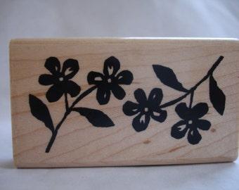 carved paper violet flower rubber stamp