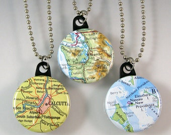Custom Map Pendant Necklace - Choose a map