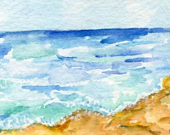 ACEO Original Seascape watercolors paintings, ocean art, beach painting, small seascape art card, coastal watercolor, beach watercolor