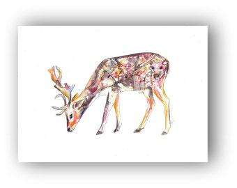 Elk art, watercolor silhouette, fine art print, woodland animal artwork, cabin decor, home decor, antlers ,deer
