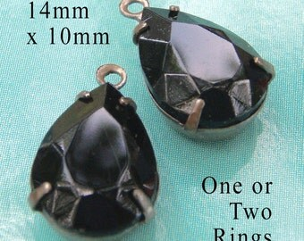 Black Vintage Glass Teardrop Beads, Patina Brass Settings, 14mm x 10mm, 14x10 Pear, One or Two Rings, Set Stones, Rhinestones, One Pair