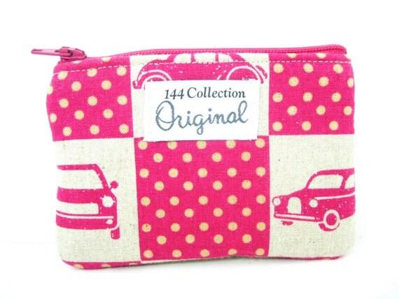 Echino Linen Cars Wallet, Pink Wallet, Fuchsia Wallet, Change Wallet Fuschia, Change Purse, Pink Coin Purse, Retro Wallet, Fabric Pouch
