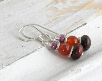 Genuine Ruby AGATE JasperDangle Sterling Silver Earrings // luluglitterbug jewelry