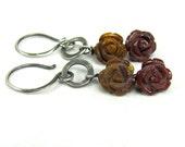 Mookite Hand Carved Rose Sterling Silver Earrings