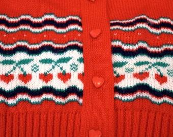 Vintage Girls 80s Sweater 6X Red Cherries 80s Girls Clothing Hoodies Sweatshirts Sweaters Cardigans Kawaii Kitsch Cute Vintage Clothing Tops