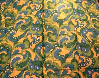 Vintage Fabric Craft Supplies Fabric by the Yard Paisley Yardage Sewing Quilting Yellow Turquoise Green White Flower Power Hippie Cotton