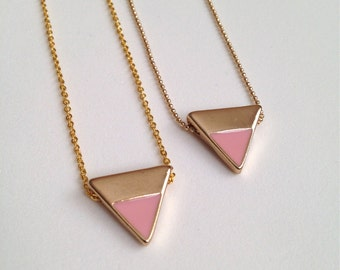 Gold + Pink Triangle Necklace
