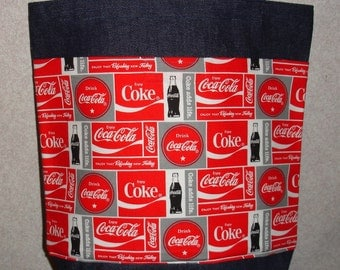 New Medium Denim Tote Bag Handmade with Coke Coca Cola BLocks Fabric