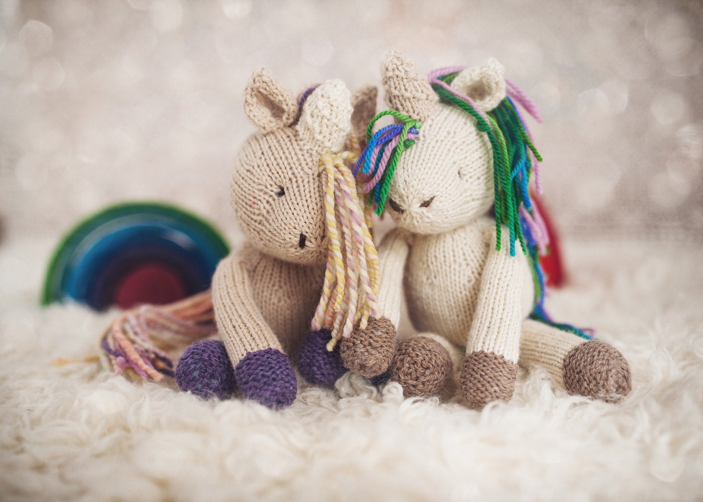 Unicorn Knitting Pattern Uk : Pattern rainflower unicorn knitting knitted toy
