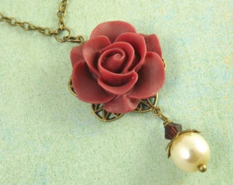 Simple Burgundy and Ivory Flower and Brass Filigree Bridesmaids Necklace