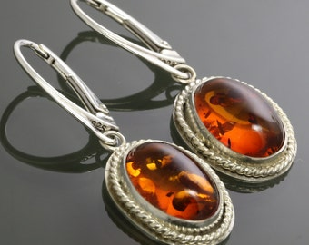 Baltic Amber Earrings. Sterling Silver. Lever Back Ear Wires. Oval Cabochon. Bezel Setting. Lightweight Earrings. Gift for Her. s15e018