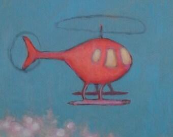 orange helicopter original  painting