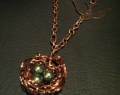 """Wired Bird's Nest with Peacock Pearls & """"Fly"""" Stamping Necklace"""