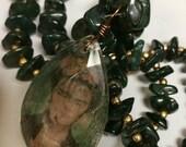 Frida Kahlo Chandelier Crystal & Green Aventurine Beaded Necklace