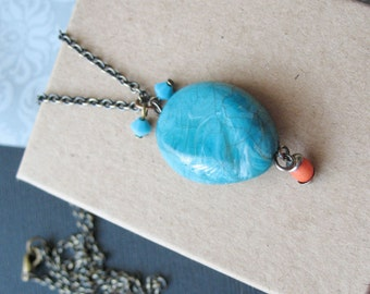 Turquoise Stone Necklace Summer Jewelry For Women.