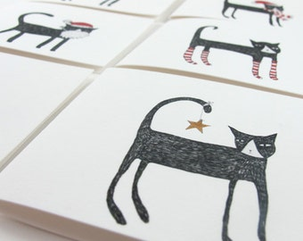 Christmas Greeting Card Pack:  Set of 6 Christmas Cats