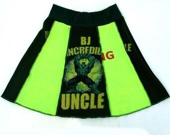 Incredible Hulk Tee Skirt  Med Marvel Comic Avengers Upcycled Tshirt Skirt neon green camo forest green Comicon OOAK Festival clothing