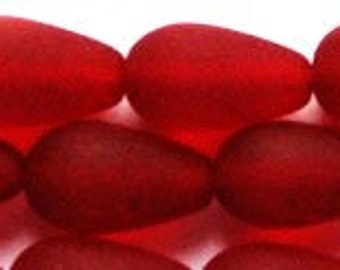 16x10mm Sea Glass Dark Red Tear Drop Glass Beads 4 pcs Teardrop
